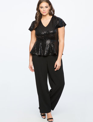 Sequin Jumpsuit with Flutter Sleeve
