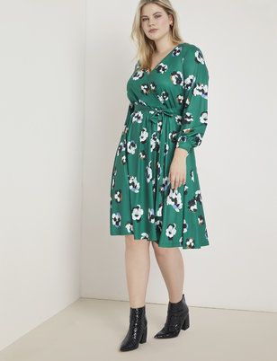 Printed Long Sleeve Wrap Dress