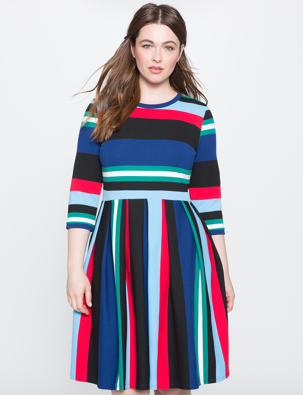 Opposing Striped Knit Dress | Women\'s Plus Size Dresses | ELOQUII