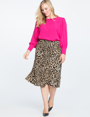 Soft Printed Midi Skirt