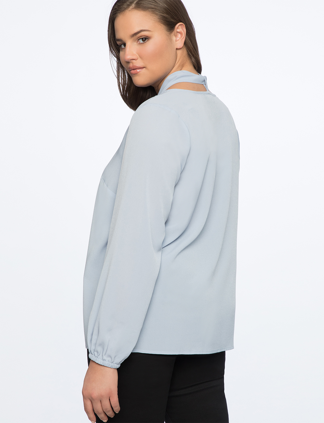 Tie Neck Top with Puff Sleeve