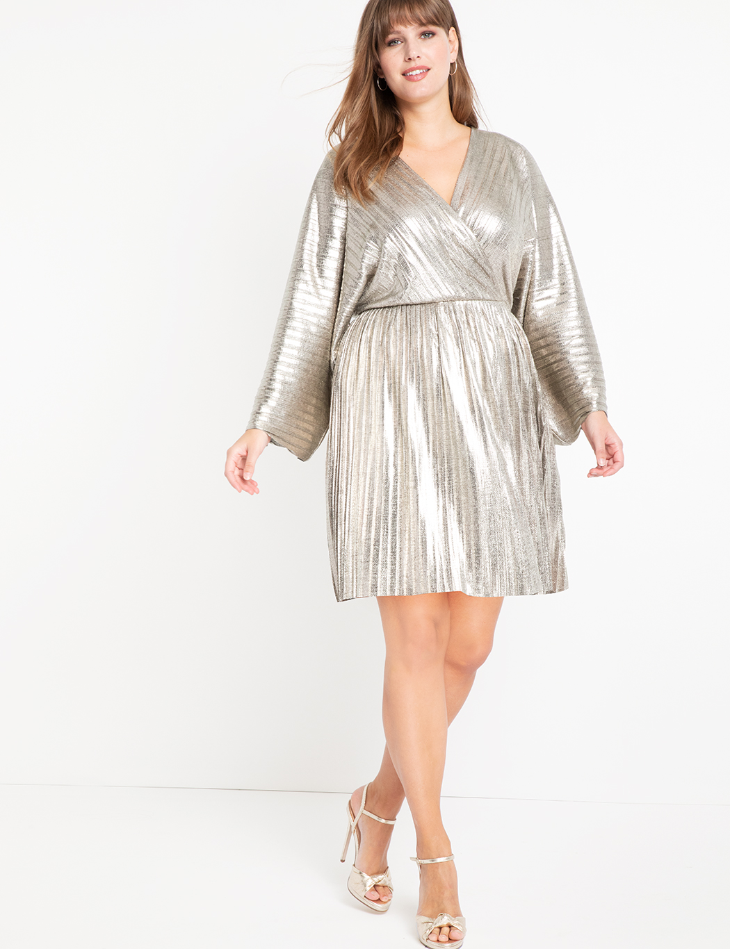 Pleated Metallic Wrap Dress