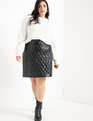 Quilted Faux Leather Skirt With Studs Totally Black