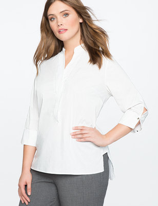 Button Cuff High Low Tunic