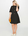 Mock Neck Military Dress with Sleeves  Black
