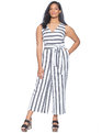 Tie Front Jumpsuit Black/White Stripe