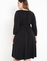 Gathered Waist V-Neck Dress Black