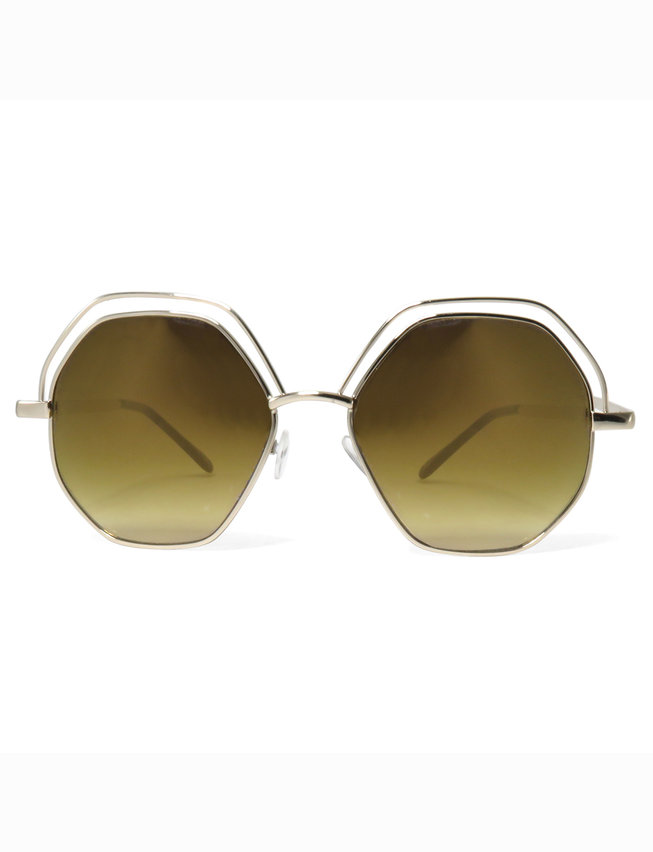 Gold Rimmed Hexagon Sunglasses