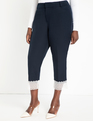 Kady Pant with Lace Cuff Detail Sky Captain + White