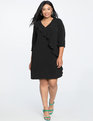 Ruffle Front Shift Dress Black