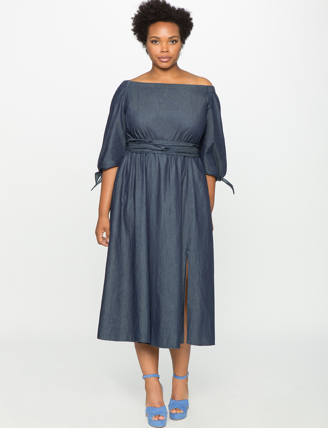 Studio Off the Shoulder Chambray Dress | Women\'s Plus Size Dresses | ELOQUII