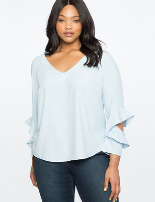 Ruffle Cutout Sleeve Top with V-Neck