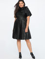 Faux Leather Tie Neck Dress Totally Black