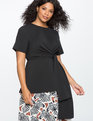 Tie Front Tunic Top Black