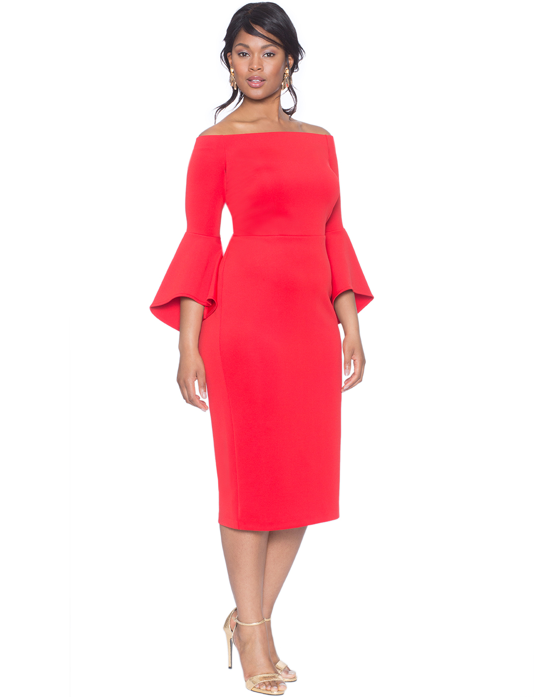 studio off the shoulder flare sleeve dress | women's plus size