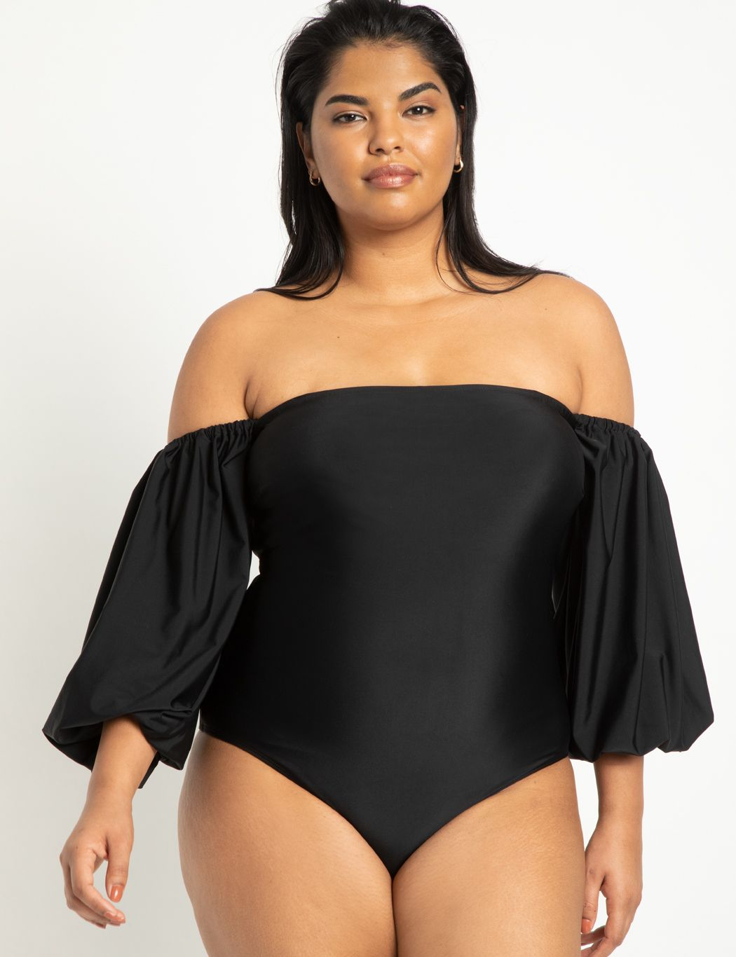 Puff Sleeve Off The Shoulder Swimsuit