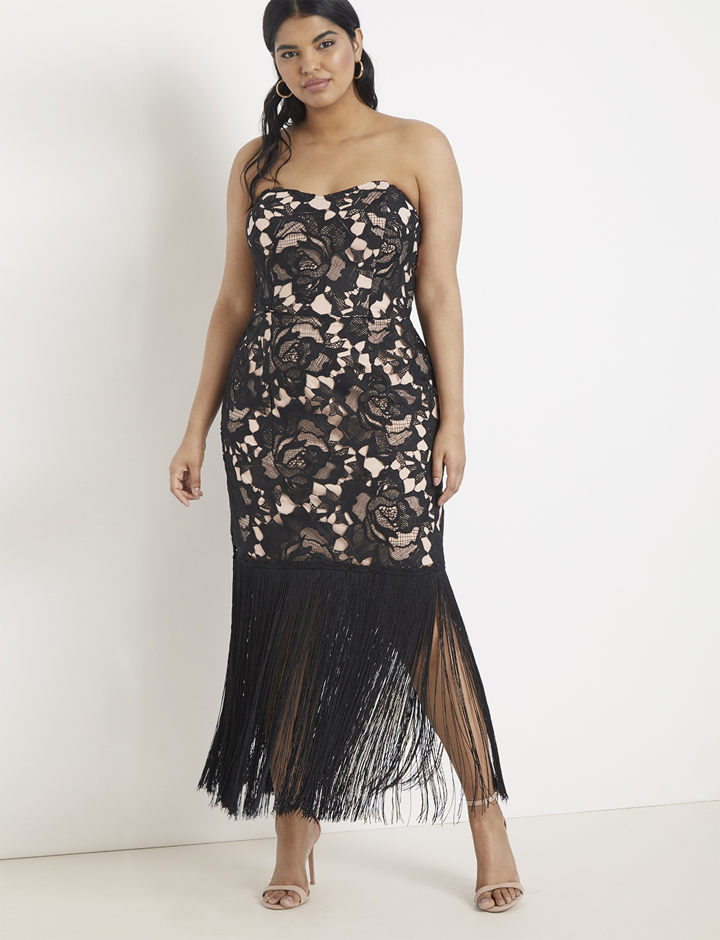 Strapless Lace and Fringe Dress