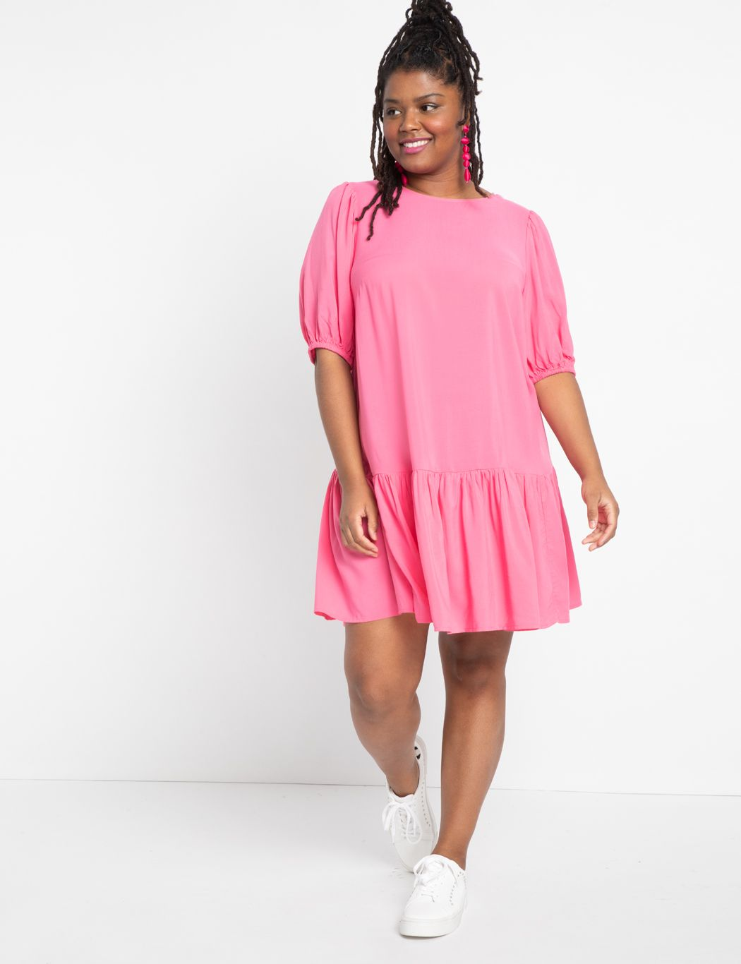 Tie Back Puff Sleeve Dress