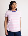 Stripe Crew Neck Tee Baby Pink + White Stripe