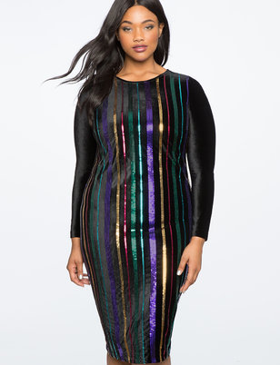Sequin Stripe Dress with Velvet Sleeves