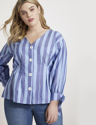 Striped Pleated Button Front Top