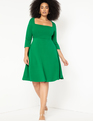 3/4 Sleeve Fit and Flare Dress Emerald