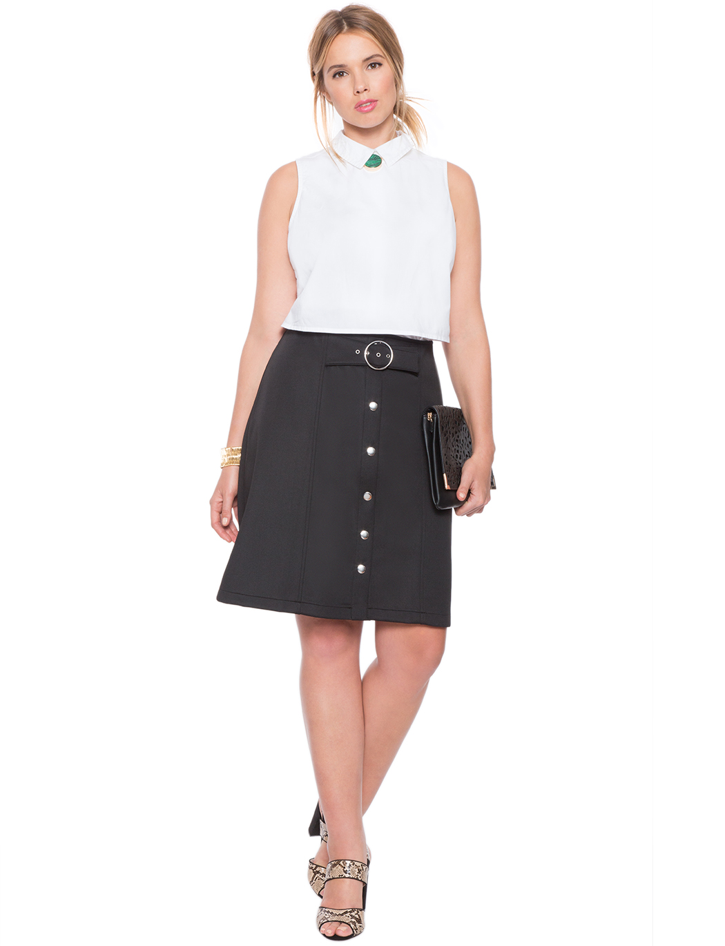 Button Up A-line Skirt