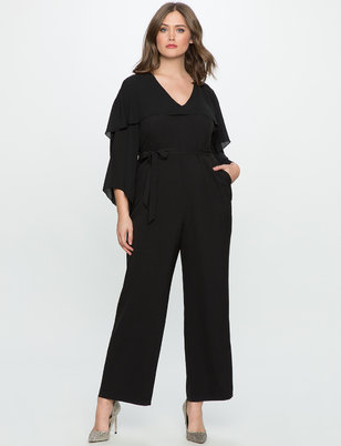 Belted Jumpsuit with Ruffle Overlay