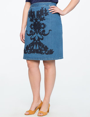 Studio Embroidered Denim Pencil Skirt