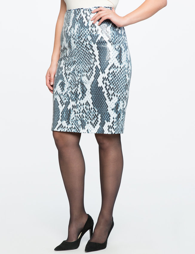 Printed Sequin Pencil Skirt