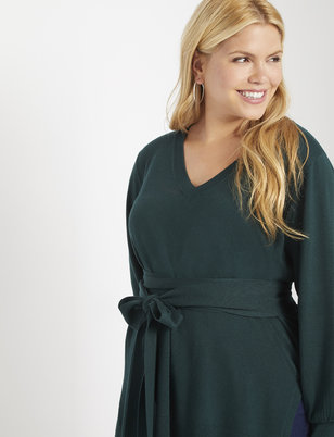 V-Neck Tie Waist Tunic Sweater