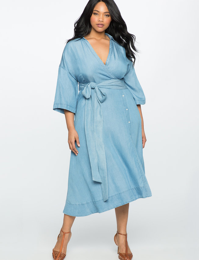 Wide Tie Chambray Wrap Dress
