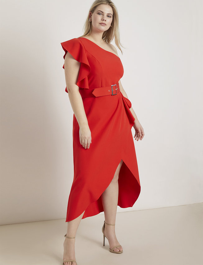 One Shoulder Belted Dress