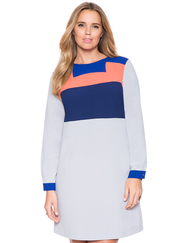 Colorblock Tunic Dress Womens Plus Size Dresses Eloquii