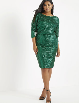 Sequin Dolman Sleeve Dress