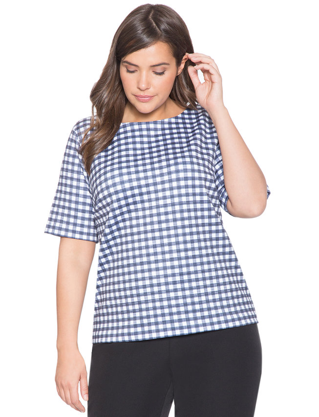 Gingham Boatneck Top