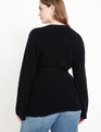 Ribbed Wrap Sweater Totally Black