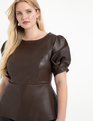 Faux Leather Puff Sleeve Peplum Top Melted Chocolate