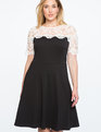 Lace Yoke Fit and Flare Dress Black + White