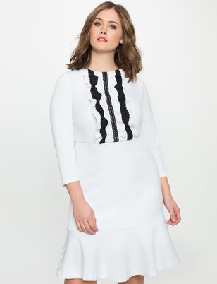 Fit and Flare Ruffle Placket Dress