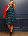 Draper James for ELOQUII Plaid Print Fit and Flare Dress So Very Plaid