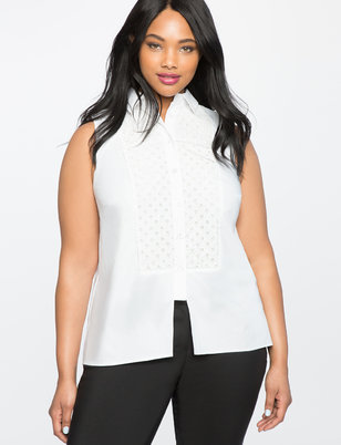 Eyelet Bib Button Up Top