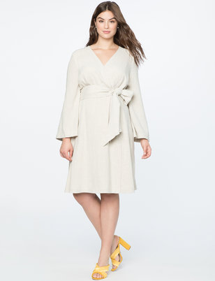 Tie Waist Flare Sleeve Dress