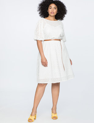 Boatneck Eyelet Dress with Piping