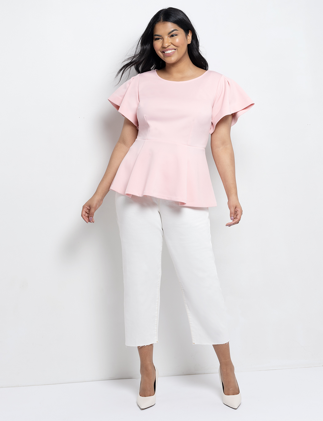 Flare Sleeve Peplum Top