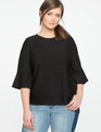 Textured Flare Sleeve Top Black