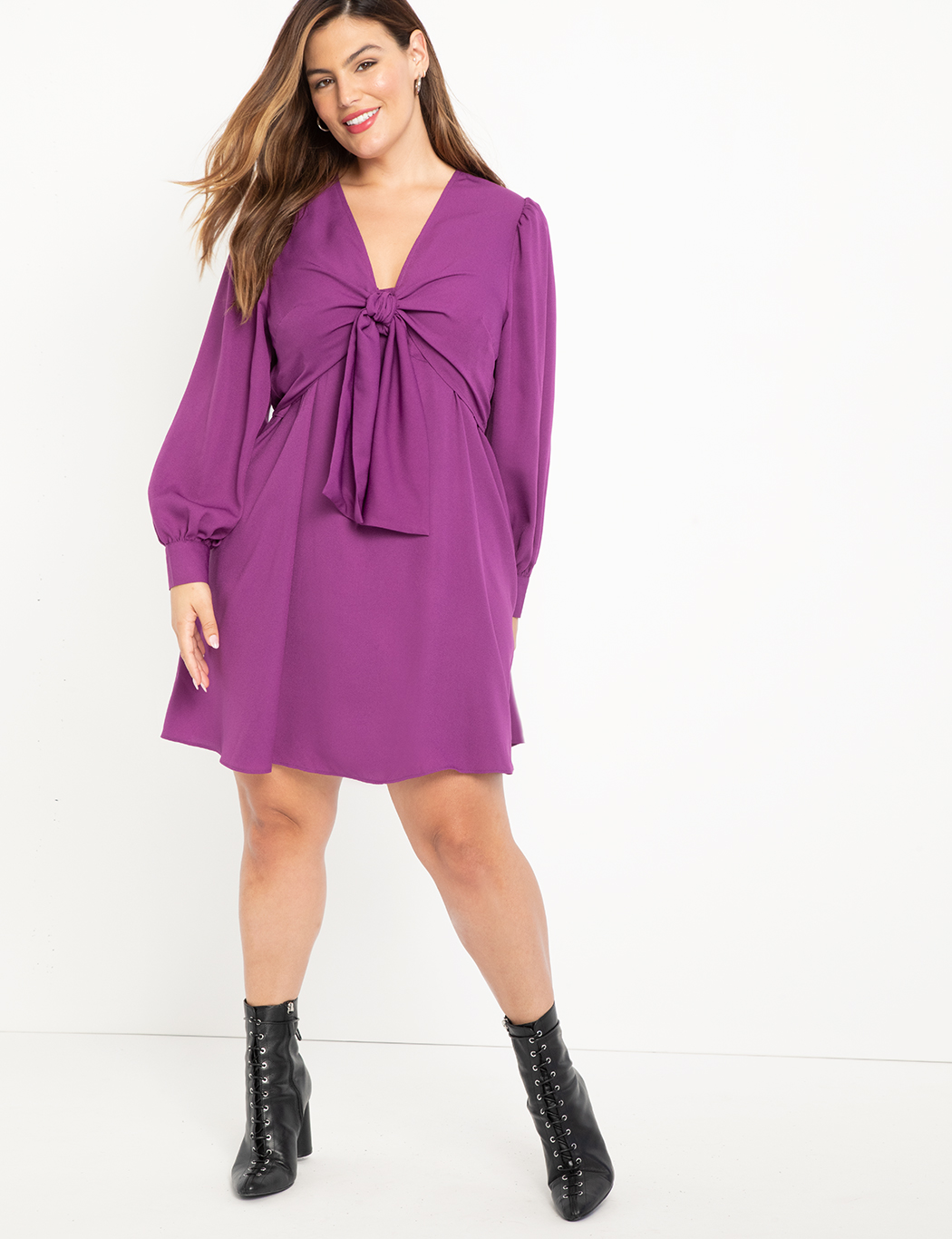 ELOQUII Elements Tie Front Dress