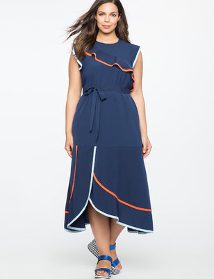 Ruffle Detail Dress with Contrast Piping
