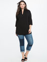 Mandarin Flare Sleeve Tunic Totally Black