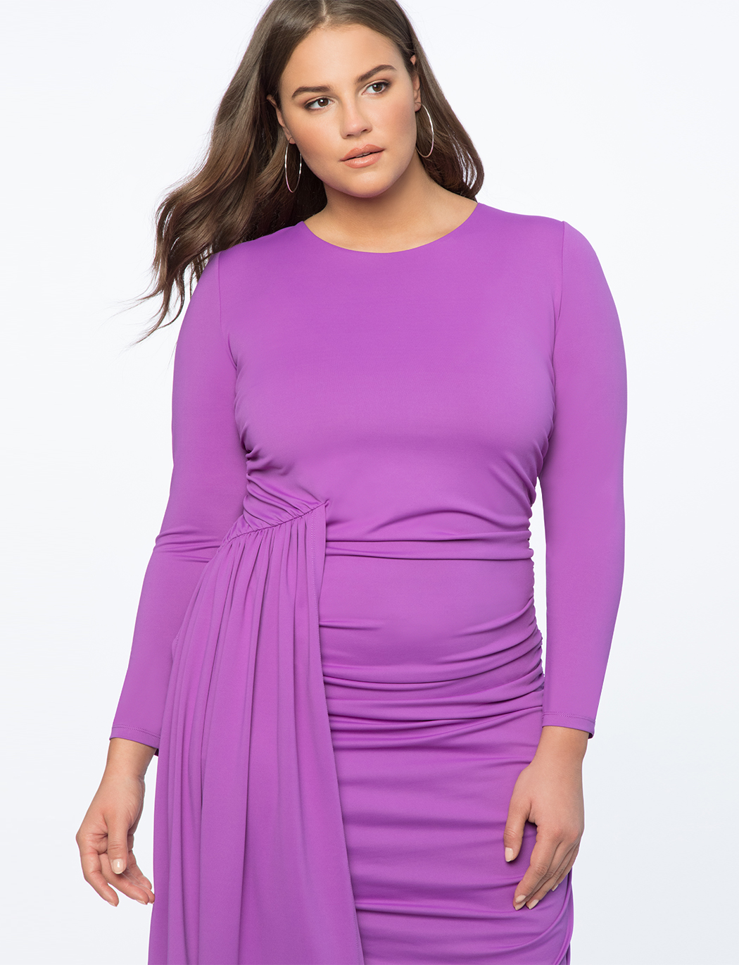 Ruched Dress with Skirt Overlay